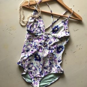 Adore Me | Floral Lace Up One-piece Swimsuit